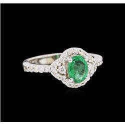 0.73 ctw Emerald and Diamond Ring - 14KT White Gold