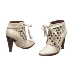 Chanel White Leather Studded Heel Booties