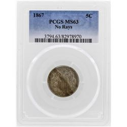 1867 5 Cent Shield Nickel No Rays Coin PCGS MS63