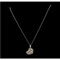 1.28 ctw Brown Diamond Heart Pendant With Chain - 14KT White Gold