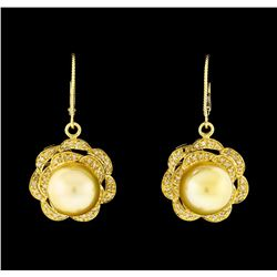 Pearl and Diamond Jewelry Suite - 14KT Yellow Gold With Rhodium