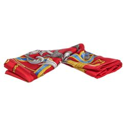 "Hermes Red Multicolor Silk Le Mors ""A La Conetable"" Scarf"