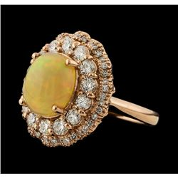 2.50 ctw Opal and Diamond Ring - 14KT Rose Gold