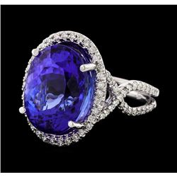 GIA Cert 14.65 ctw Tanzanite and Diamond Ring - 14KT White Gold