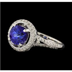 1.87 ctw Tanzanite and Diamond Ring - 18KT White Gold