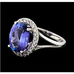 3.38 ctw Tanzanite and Diamond Ring - 14KT White Gold