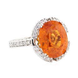 10.47 ctw Spessartite Garnet And Diamond Ring - 18KT White Gold