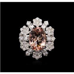 5.15 ctw Morganite and Diamond Ring - 18KT White Gold