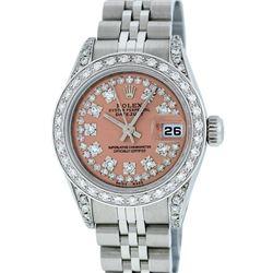 Rolex Ladies Stainless Steel 26MM Salmon String Diamond Lugs Datejust Wristwatch
