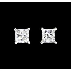 0.80 ctw Diamond Earrings - 14KT White Gold