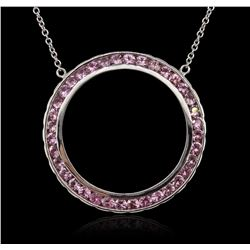14KT White Gold 3.00 ctw Pink Sapphire Necklace