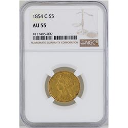 1854-C $5 Liberty Head Half Eagle Gold Coin NGC MS55