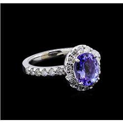 1.90 ctw Tanzanite and Diamond Ring - 14KT White Gold