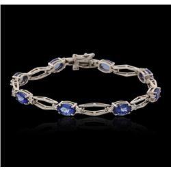 14KT White Gold 6.24 ctw Tanzanite and Diamond Bracelet