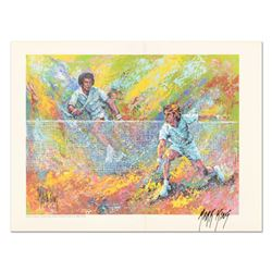 Arthur Ashe & Jimmy Conners in Action by Mark King (1931-2014)