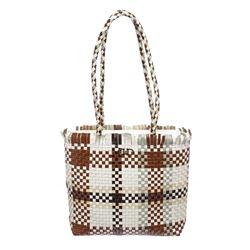 Salvatore Ferragamo Brown Multicolor Woven Leather Shoulder Handbag