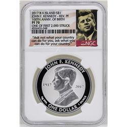 2017 British Virgin Islands $1 John F. Kennedy Reverse Proof Coin NGC PF70