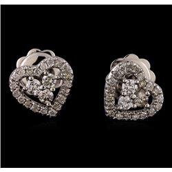 0.40 ctw Diamond Earrings - 14KT White Gold