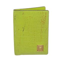MCM Lime Green Croc Embossed Passport Holder
