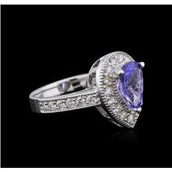 14KT White Gold 1.63 ctw Tanzanite and Diamond Ring