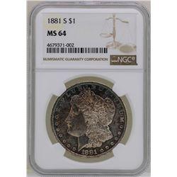 1881-S $1 Morgan Silver Dollar Coin NGC MS64 Nice Toning