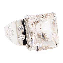 14.15 ctw Morganite And Diamond Ring - 14KT White Gold