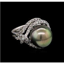 0.58 ctw Pearl and Diamond Ring - 14KT White Gold