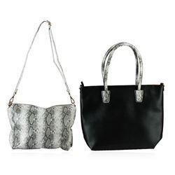 Black and Silver Textured Classic Handbag