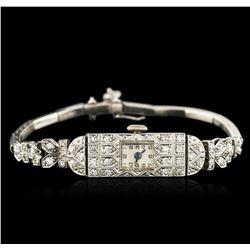 Platinum 0.72 ctw Diamond Vintage Ladies Watch