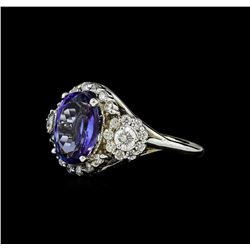 3.77 ctw Tanzanite and Diamond Ring - 14KT White Gold