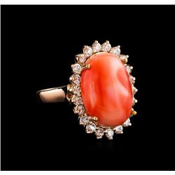 8.10 ctw Coral and Diamond Ring - 14KT Rose Gold