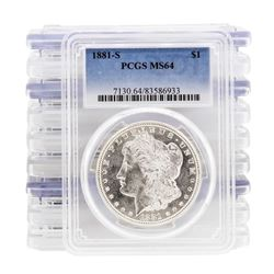 Lot of (10) 1881-S $1 Morgan Silver Dollar Coin PCGS MS64