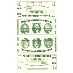 U.S. Giori Test Banknote Uncut Sheet of 4