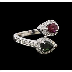 1.22 ctw Tourmaline and Diamond Ring - 14KT White Gold