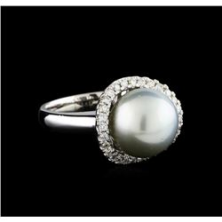 0.40 ctw Pearl and Diamond Ring - 14KT White Gold