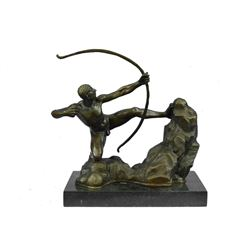 "APOLLO Nude Male Archer Bronze Sculpture 12.5"" x 14"""