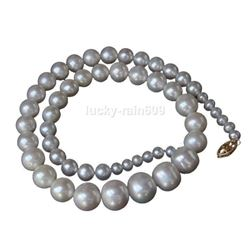Smooth Surface Luster 5-13mm Graduated Round White Pearls Necklace 14k