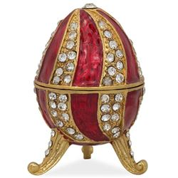 "Faberge Inspired 2.5"" Red Crystal Spire Royal Inspired Russian Egg"