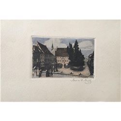 Nurnberg, Nuremburg Signed Hand-colored Etching