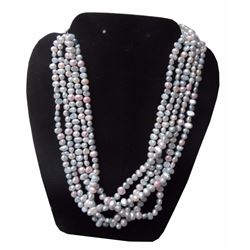 Fabulous, Multi Strand White Rice Pearl Choker / Necklace