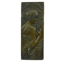 "Art Nouveau Bronze Bas Relief Wall Sculpture of Roman Female or Goddess 9.5"" x 4"""