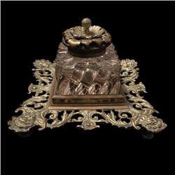 19thc Ornate Brass & Cut Glass Inkwell