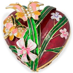 """Faberge Inspired 6.5"""" Valentine's Love Heart with Butterfly Jewelry Box"""