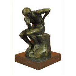 Rodin Thinker Symbol of Philosophy Bronze Sculpture Hot Cast Marble Base Figure
