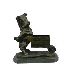 "Pug or Bulldog Pushing a Wheelbarrow - Bronze Planter or Dish 12"" x 12"""