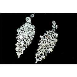 Rhodium Plated Sparkle Clear Crystal Rhinestone Chandelier Ear-nail Earrings