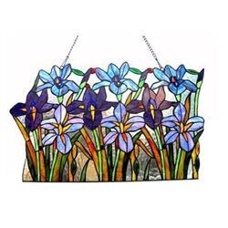 """Tiffany-glass Iris Window Panel 24"""" Wide"""