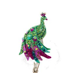 Brightly Jeweled Peacock Badge Reel
