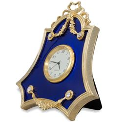 Royal Blue Guilloche Enamel Russian Antique Style Clock Frame 4 Inches