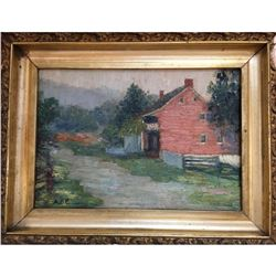 Late 19thc Signed Oil Painting, American Red House